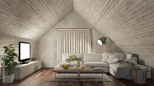 Fototapeta Wohnzimmer auf Dachboden mit Sofa und Fernseher
