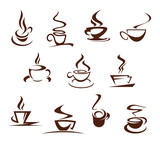 Vector coffee cups for cafeteria cafe icons set