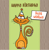 happy birthday card with funny doodle cat - 182415416