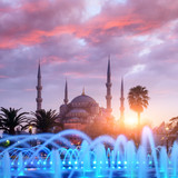 Fountain on Sultanahmet area in evening time. Multicolored streams against the background of the Blue mosque. Located place: Istambul, Turkey - 182421052