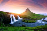 Picturesque icelandic landscape with colorful sunrise on Kirkjufellsfoss waterfall. Amazing morning scene near famous mountain - Kirkjufell volkano, Iceland, Europe - 182421205