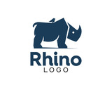 Awesome Rhino Simple Modern With A Little Bird Dark Blue Logo - 182421258