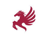 Red Angry Pegasus Mythology Flying Wings Simple Modern Animal Logo