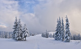Fantastic winter landscape with snowy trees. Carpathian mountains, Ukraine, Europe. Christmas holiday concept - 182421463