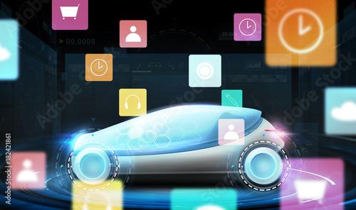 Sticker futuristic concept car with virtual menu icons