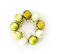 Green Christmas balls in a circle isolated with shadows on a white background, greeting card, flat top view from above, copy space - 182422845