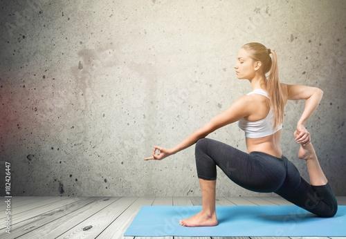 Fotobehang School de yoga Mat.