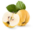 quince with half of quince isolated on a white background