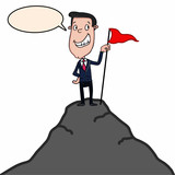 businessman and red flag and hill and speaking   - 182430481