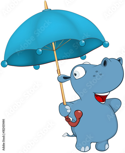 Papiers peints Chambre bébé Illustration of a Cute Little Hippo Cartoon Character