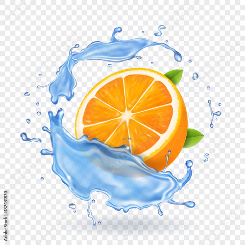 Orange fruit in water splash. Realistic fruit