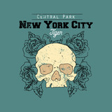 Skull with roses . New York Central park tiger slogan. Typography graphic print, fashion drawing for t-shirts .Vector stickers,print, patches vintage rock style