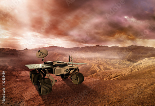 Plexiglas Nasa mars rover exploring the red planet surface