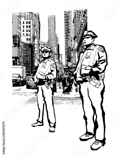 Deurstickers Art Studio Policemen in the 5th avenue in New York