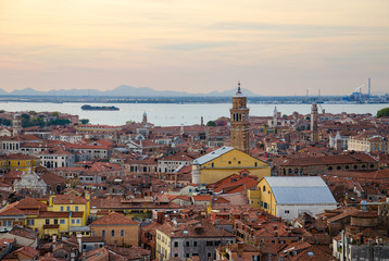 Rooftop view of Venice at nightfall from St Mark's Campanile