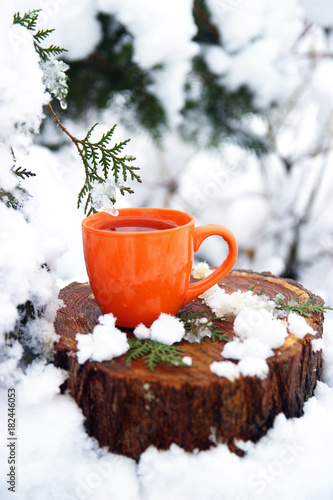 Fototapeta cup of tea on a snow background. xmas time