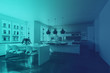 Modern home interior in retro blue light