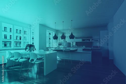 Fototapeta Modern home interior in retro blue light