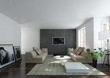 Contemporary interior of a bright home living room - 182449264