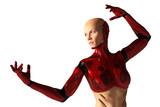 red cyborg girl   - 182449270