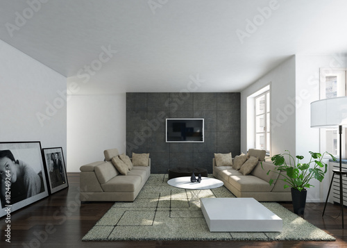 Foto op Canvas Hoogte schaal Contemporary interior of a bright home living room