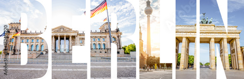 BERLIN letters filled with pictures of famous places and cityscapes in Berlin city, Germany