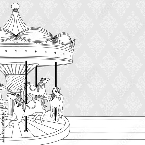Fototapeta Hand drawn black and white illustration of a carousel with horses, coloring book page