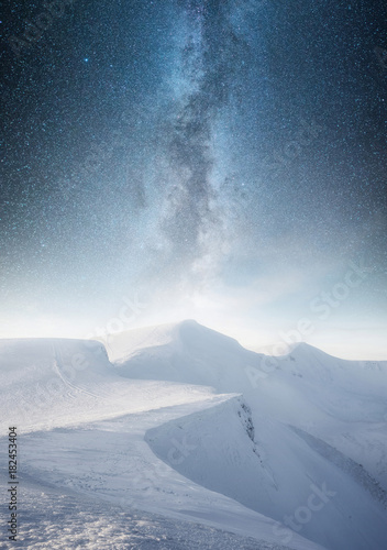 Fotobehang Landschappen Mountain in the winter at the night time. Natural landscape in the winter time
