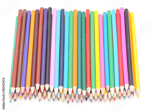 Group colorful pencils.