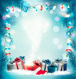 Christmas holiday background with gift boxes and magic box. Vector.