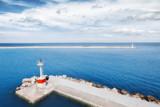 Seascape scenery with Lighthouse. Blue color tone photo. Greece, Zante island (Zakinthos) - 182458047