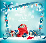 Holiday Christmas background with a sack full of gift boxes and garland. Vector. - 182458409