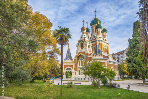Staande foto Nice Russian orthodox church in the autumn, Nice, France