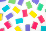colored sponges on white background - 182460021