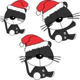 xmas sit baby cat cartoon santa claus hat set in vector format