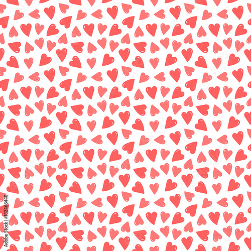 Cute seamless pattern background with hand drawn, doodle red and pink hearts.