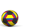 Football ball featuring flags of Colombia. 3D rendering - 182468282