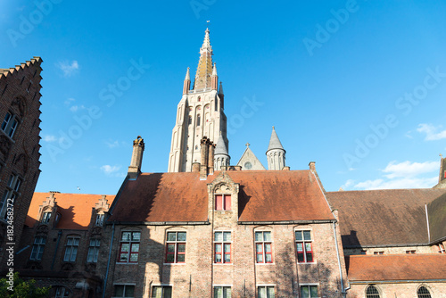 Tuinposter Brugge Medieval Church of Our Lady in Bruges in sunny day, Belgium