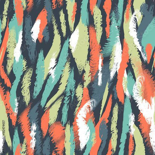 Seamless nordic pattern. Ethnic abstract background with brushstrokes. Chaotic multi-colored smears and stains. Endless vector design for texture, wallpaper, textile, wrapping paper, card, print.