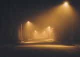 Night street in the fog.  Los Angeles. California. America. Novem 2017