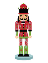 Christmas Nutcracker Cartoon Illustration Wooden Soldier Toy Gift From The Ballet Eps 10  Illustration Sticker