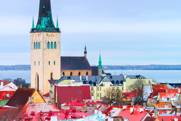 Cityscape and St Olaf Church in Old town of Tallinn