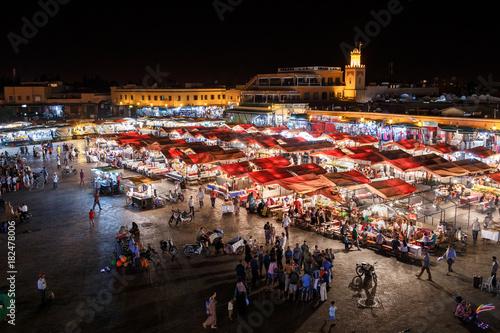 Fotobehang Marokko Jemma el Fnaa or Djemma el Fna famous square in Marrakesh, Morocco
