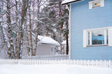 Detail of Cottage with fence in winter Rovaniemi - 182479011