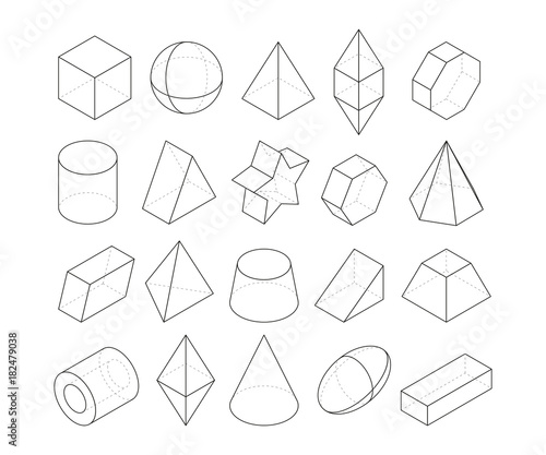 Monoline illustrations. Frames of different geometry shapes