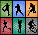 set of sport silhouettes on the colorful background - vector
