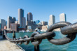 Iron Chain Along Water Front in Boston