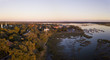 Aerial panorama of Beaufort, South Carolina taken during the golden hour.