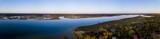 Aerial panorama of coastal community at sunset - 182485401