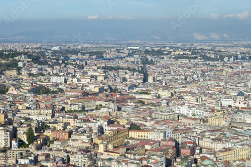 Aluminium Napels Scenic landscape view across the historic city centre of Naples, Italy to Mount Vesuvius on the horizon